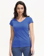 Ladies` V-Neck-T-Shirt Moon